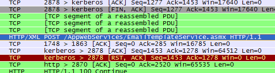 Wireshark showing web service call